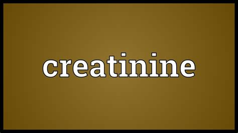 Creatinine Meaning - YouTube