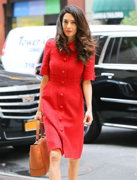 Amal Clooney out in New York in red|Lainey Gossip