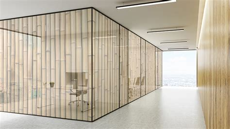 Printed office glass partition bamboo pattern