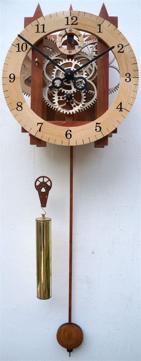 Large wooden mechanical skeleton wall clock with pendulum